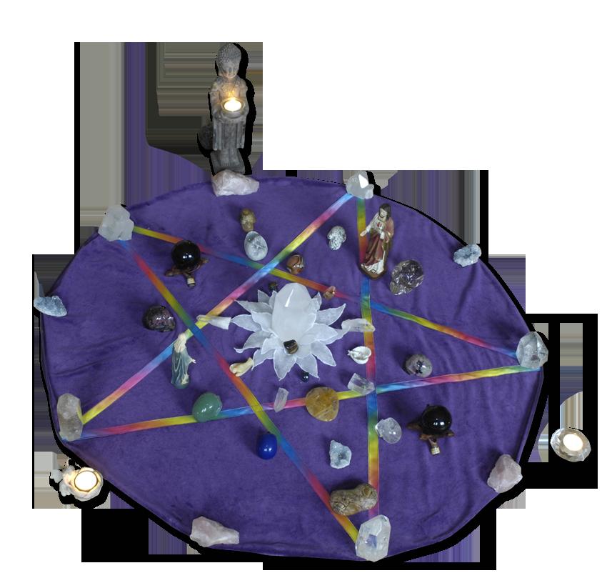 Pentagram | kristallen | regenboog | schedels | jezus | maria | regenboog kristal | Notter